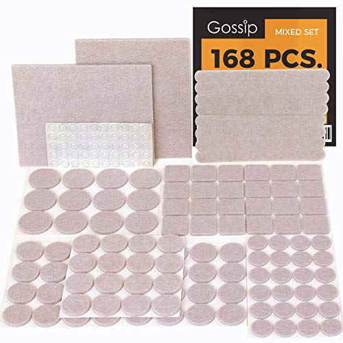 (GOSSIP Felt Furniture Pads Beige - Set 168 Pcs Value Pack, Heavy Duty Adhesive Felt Pads for Furniture Feet to Protect Hardwood Flooring, Assorted Sizes with Noise Dampening Clear Bumper)