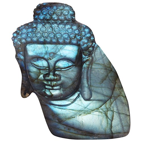 NATURSTON Handmade Gemstone's Buddha Head Statue Natural Labradorite Carving Meditation Buddha Religious Figurine (Green-2.6'') Carving Buddha Head Statue