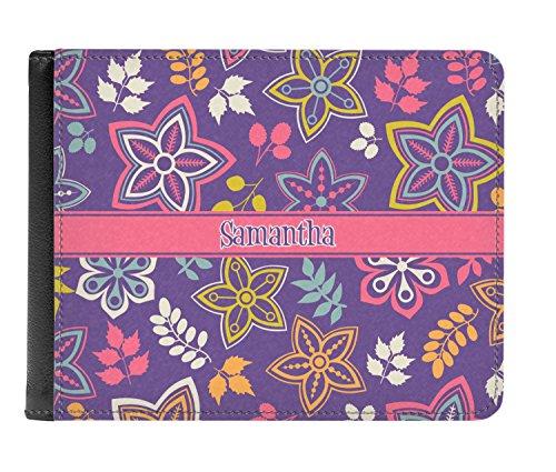 Simple Men's Genuine Leather Floral Simple fold Personalized Wallet Bi Floral RatqZ