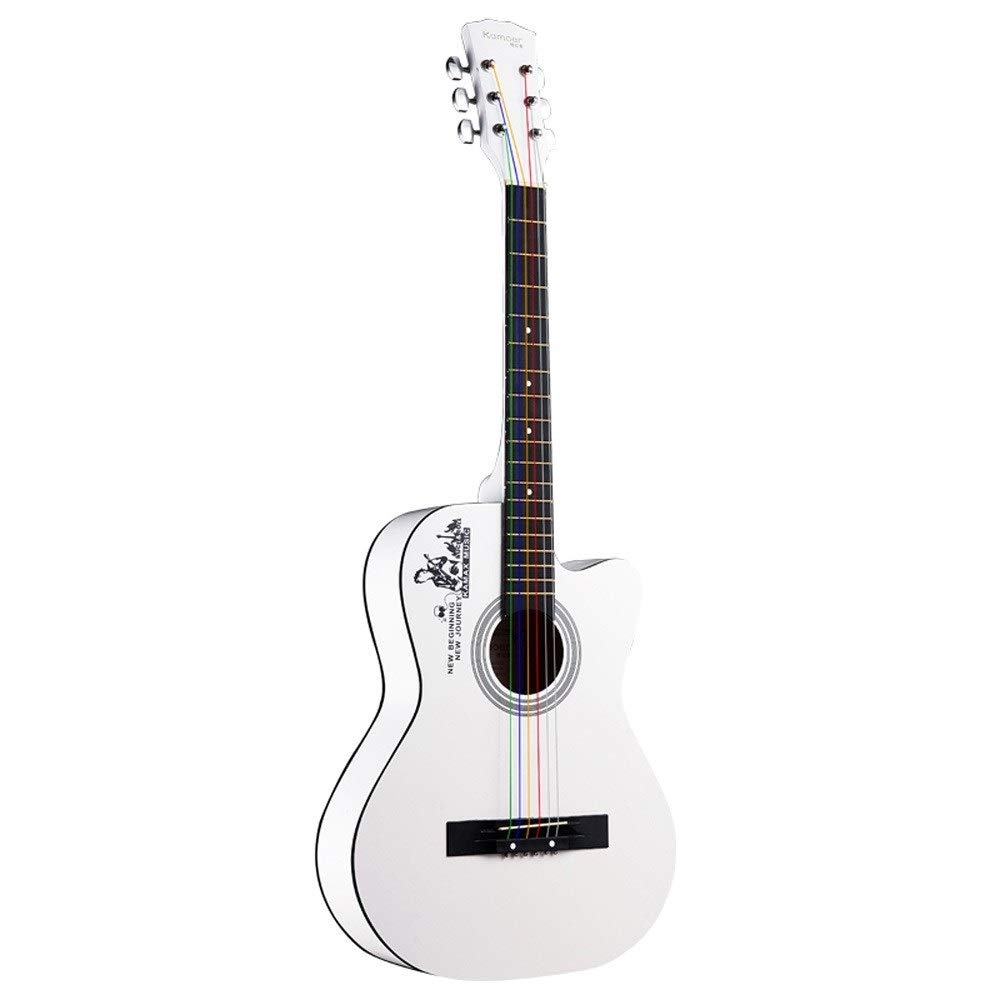 Loivrn Ukulele Starter Kit Basswood Wood 38 Inch Acoustic Guitar Classic Ballad Guitar with Jig Bag Tuner and Rope Adjuster Novice Practice Introduction Teaching Personality Guitar (Color : White) by Loivrn