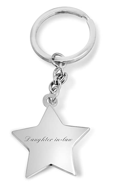 Luxury Engraved Gifts UK women s Daughter In Law Star Shaped Keyring One  Size Silver 73b4be391c