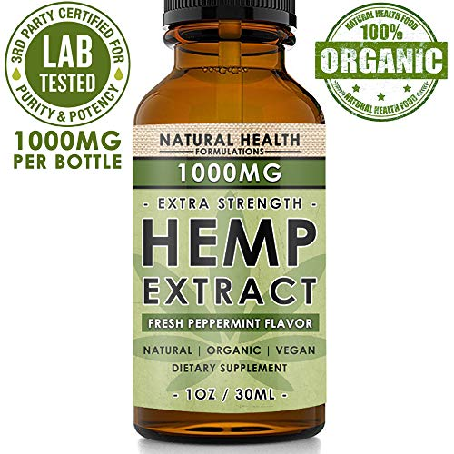 Hemp Oil 1000mg - Premium Extract Formula for Pain Relief, Anxiety, Depression & Stress - 33mg Per Serving x 30 Servings (1000mg) - Anti-Inflammatory Omega 3/6 - Organic & Non GMO - Fresh Mint Flavor