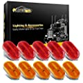Partsam 10Pcs 4 Inch Trailer Rectangular Led Side Marker Clearance Lights Lamp 6 Diodes w/Reflex Lens, Sealed 2x4 Reflective Rectangle Led Marker Lights Surface Mount for Truck Lorry Van Camper 12V