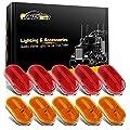 Partsam 10Pcs 4 Inch Trailer Rectangular Led Side Marker Clearance Lights Lamp 6 Diodes w/Reflex Lens, Sealed 2x4 Reflective Rectangle Led Marker Lights Surface Mount for Truck Lorry Van Camper 12V