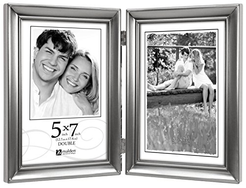 Malden International Designs Concourse Pewter Metal Hinged Picture Frame, Double Vertical, 2-5x7, Silver Design Hinged