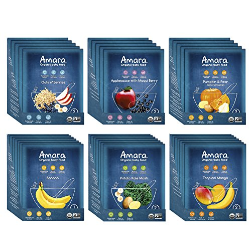 (Amara Baby Food, Sampler Pack, Healthy Baby & Infant Food, Organic Fruits, Cereals and Veggies for Baby's First Meals - Stages 1 & 2 (36 Pouches))