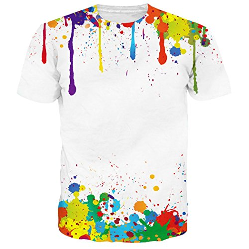 RAISEVERN Unisex 90's Colorful Melting Paint Drip Printed Summer Cool T Shirts Tees Clothing