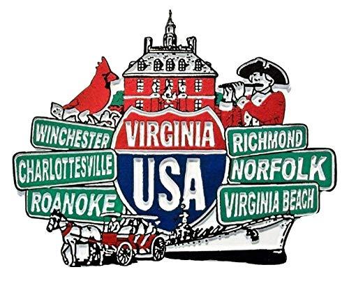 (Virginia Street Signs Fridge Magnet)