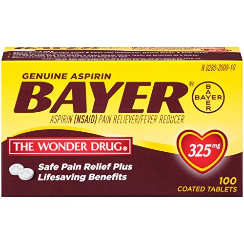 Genuine Bayer Aspirin 325mg Tablets, 100-Count (Pack of 10) by Bayer
