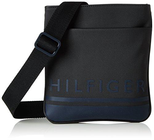 Tommy Hilfiger Signature Stripe Mini Flat, Sacchetto Uomo, Nero (Black), 2x24x22 cm (b x h x t)