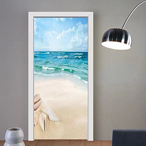 Gzhihine custom made 3d door stickers Ocean Decor Beach Sand Waves Sealife Marine Decor with Shels Hot Summer Sun Print Teal Blue Cream For Room Decor - Sea Shel