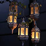Retro Chandelier Moroccan Style Vintage Wrought Iron Candlestick Metal Hollow Wedding Hanging Candle Holders Lantern Contain 40cm Chain for Living Room, Study, Bedroom, Hotel (Black)