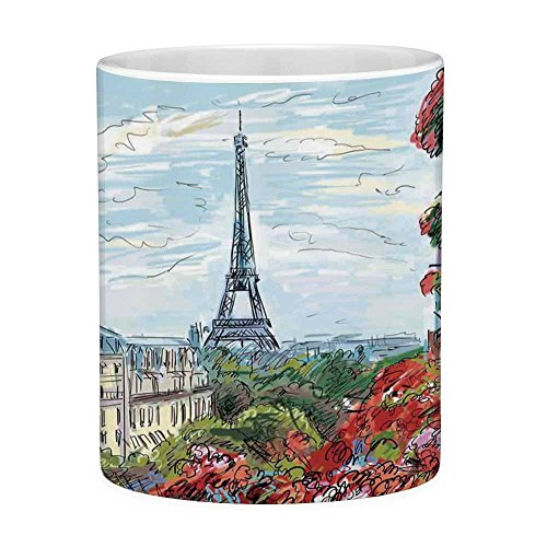 Lead Free Ceramic Coffee Mug Tea Cup White Paris City Decor 11 Ounces Funny Coffee Mug Street in Paris Town Traffic Trees Downtown Urban Life Exterior Monument Scene ()