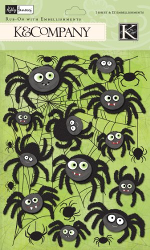 Embellishment Rub - EK Success K and Company Kelly Panacci Halloween Spider Rub-on with Embellishments