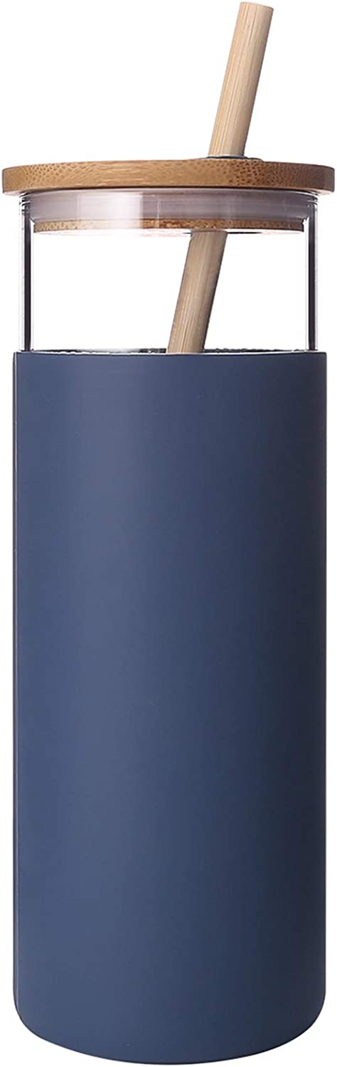 Diller Glass Tumbler with Straw 16oz Glass Water Bottle with Silicone Protective Sleeve Bamboo Lid - BPA Free (Blue)