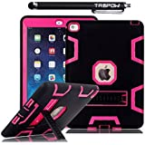 iPad Air 2 Case, TabPow [Triple Layer][Shockproof][Kickstand][Heavy Duty] Hybrid Rugged Drop Proof Defender Case Cover with Stand For Apple iPad Air 2 with Retina Display / iPad 6th Generation [FREE SCREEN PROTECTOR + STYLUS BUNDLE], Hot Pink