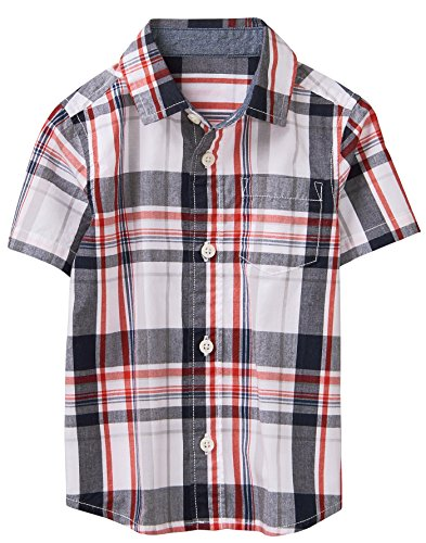 (Gymboree Boys' Little Short Sleeve Button Down Woven Shirt, True red Plaid, L)