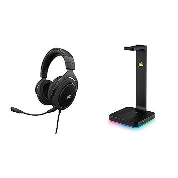 Corsair HS50 Stereo - Auriculares gaming con micrófono desmontable (para PC/PS4/Xbox/Switch/móvil), verde + Corsair ST100 RGB Premium - Soporte para ...