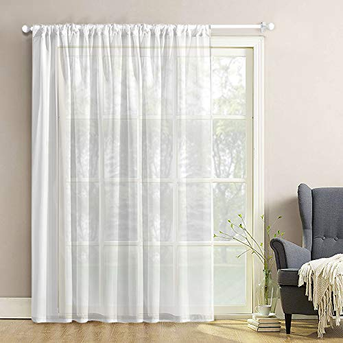 (White Sheer Curtains Extra Wide 100 x 84 inches Long Living Room Curtain Sheers Solid Sheer Curtain Panels Sliding Glass Door Voile Window Treatment Bedroom Drapes Patio Door Rod Pocket 1 Panel)