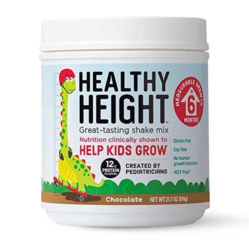 Healthy Height Kids Shake Mix (Chocolate). Gluten and Soy Free Nutritional Drink Supplements Diet to Help Kids Grow with 12 g Protein, Vitamin C and Zinc (21.7 oz) ()