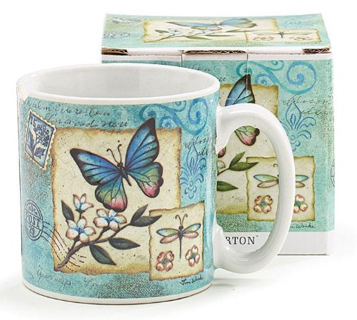 1 X Miriposa Garden Blue Butterfly 13oz Ceramic Coffee Mug ()