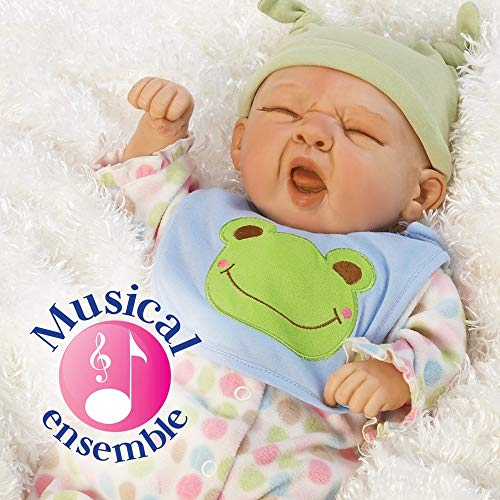 (Paradise Galleries Realistic Reborn Baby Boy Doll, Sleepy Frog, 20 inch Weighted Baby in GentleTouch Vinyl, 4-Piece Set)