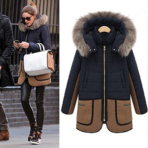Elevin(TM)Fashion Womens Warm Winter Fur Hooded Parka Coat Thicken Overcoat Jacket Outwear (XXL, Blue)