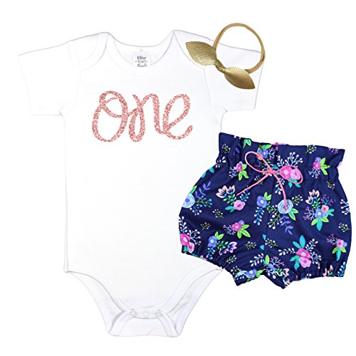 Girls 1st Birthday Outfit Rose Gold One Bodysuit with Navy Blue Floral High Waisted Bloomers Gold Bow 3 Piece Set