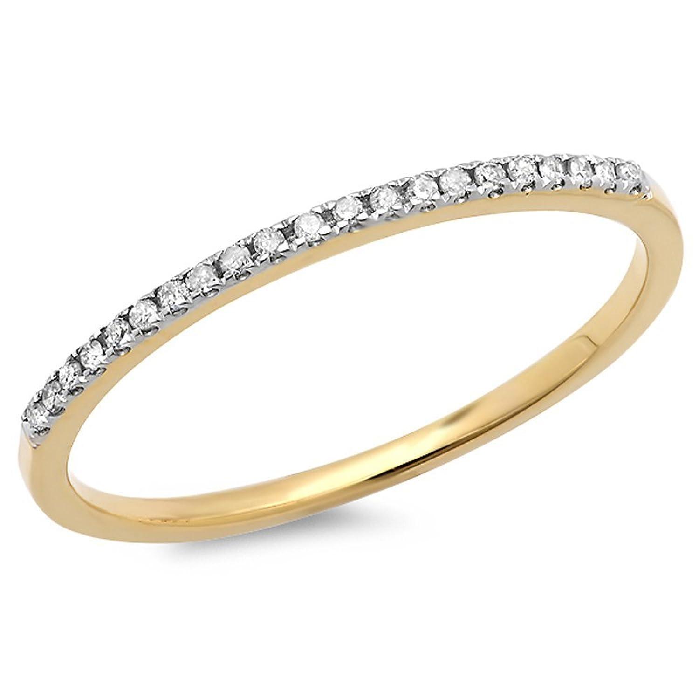 0.08 Carat (ctw) 18k Gold Round White Diamond Dainty Anniversary Wedding Band Stackable Ring