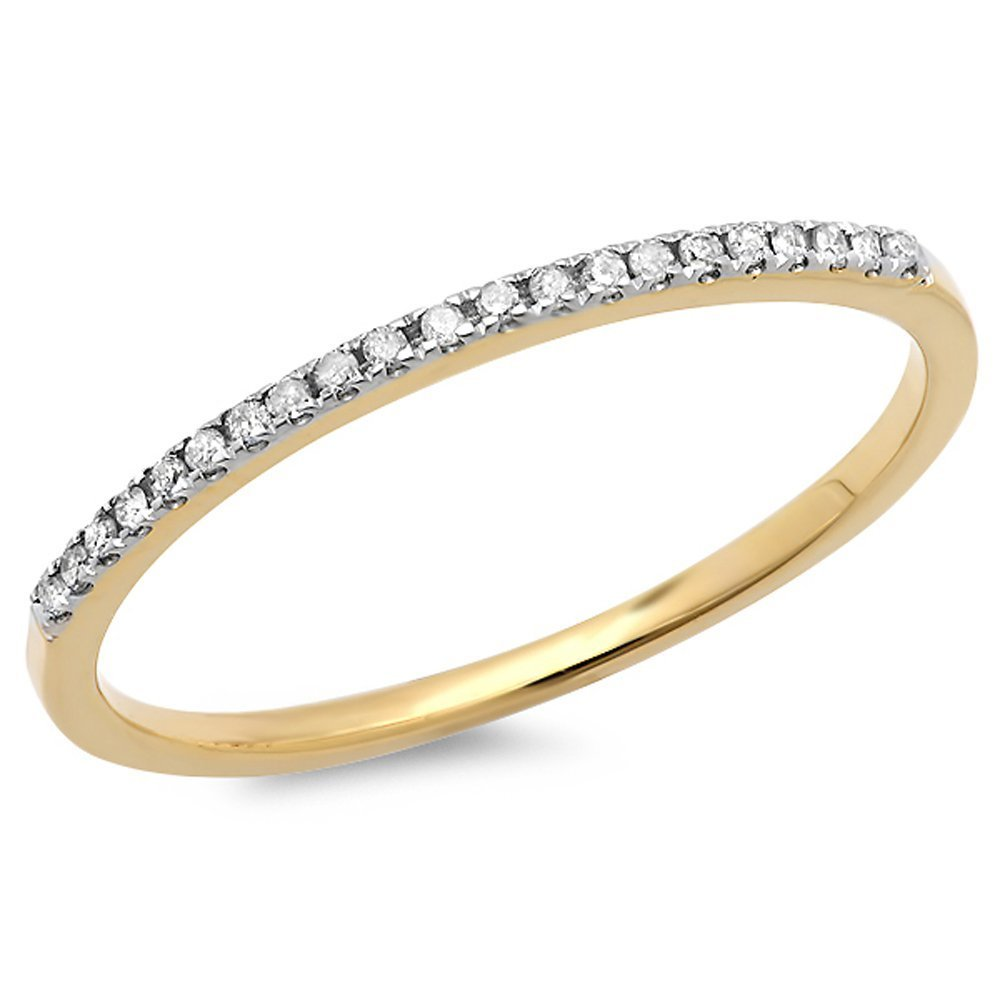 0.08 Carat (ctw) 10k Yellow Gold Round White Diamond Ladies Dainty Anniversary Wedding Band Stackable Ring (Size 6)