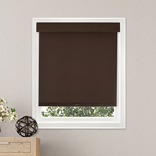 Chicology Free-Stop Cordless Roller Shades / Blind Curtain Drape No Tug Thermal Room Darkening - Mountain Chocolate 27\