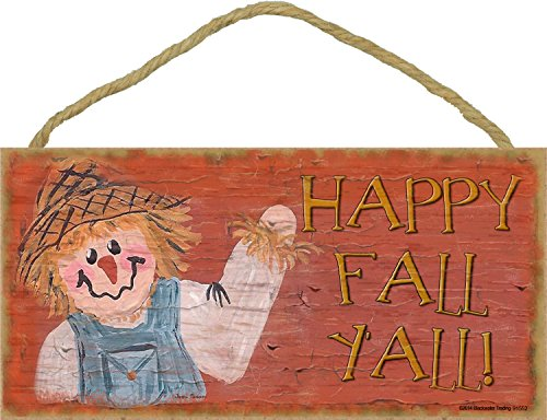 Blackwater Trading Happy Fall Y'all Scarecrow Halloween Fall Sign Plaque Decor 5