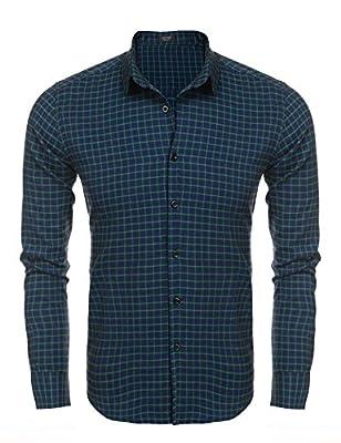 Coofandy Casual Plaid Long Sleeve Button Down Shirt Fashion T-shirts