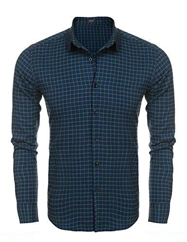 (COOFANDY Men's Long Sleeve Luxury Print Dress Shirt Graphic Button Down Shirt (Green(Plaid), Small))