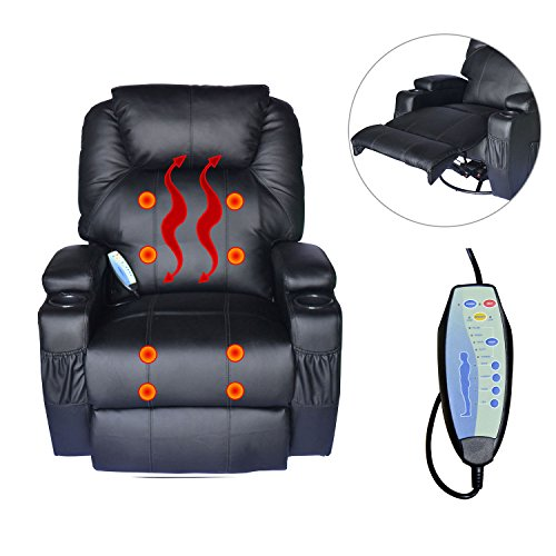 PU Leather Heated Vibrating Massage Recliner Sofa Chair Black Lounge Seat With Ebook