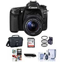 Canon EOS 80D DSLR Camera Body Kit, with EF-S 18-55mm F3.5-5.6 IS STM Lens, Black - Bundle With Camera Bag, 32GB Class 10 SDHC Card, 58mm Filter Kit, Cleaning Kit, SD Card Reader, Software Package