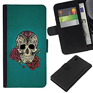 KingStore / Leather Etui en cuir / Sony Xperia Z1 L39 / Rose Tattoo Ink Blue Rock rodillo metálico