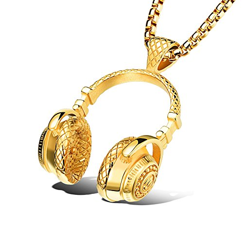 BRAVE NEW Exquisite Headphone glod Necklace Popular Hip hop Night Club Chain Pendant with Chain by BRAVE NEW