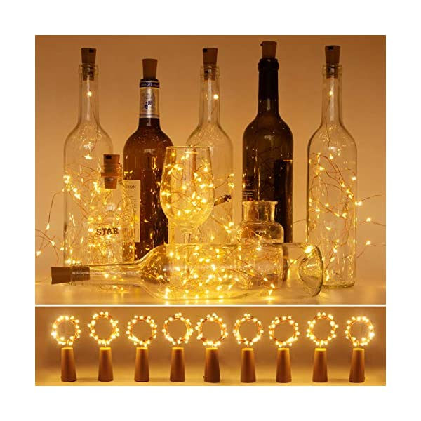 Luci per Bottiglia (9 pezzi), Litogo Luci Tappo LED a Batteria per Bottiglie, Filo di Rame Led Decorative Stringa Luci da Interni e Esterni per Festa, Giardino, Natalizie, Matrimonio (Bianco Caldo) 1 spesavip