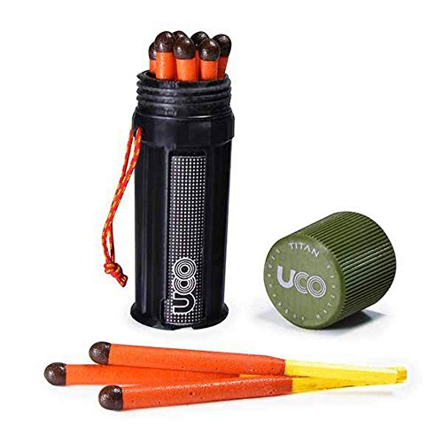 UCO Titan Stormproof Match Kit with Waterproof Case, Replacement Strikers and 12 Matches
