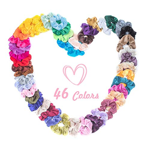 Hair Scrunchies Velvet Elastic Hair Bands Bobbles Scrunchy Ties Ropes Scrunchie Accessories Ponytail Holder for Women or Girls - 46 Colors