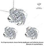 New''Loveknot'' S925 Sterling Silver Pendant Necklace and Earring set by vadugavara brand. Gift Elevated for wife, lover, grandma, sister in a Jewelry gift box (Necklace Earring Set)