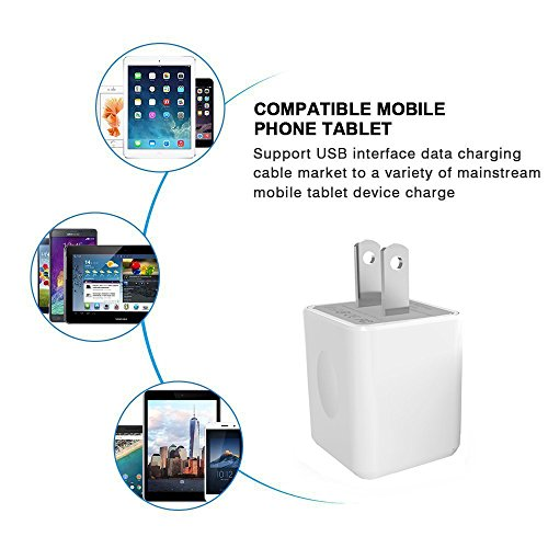 USB Wall Charger, 2-Pack 2.1A/5V Dual Port USB Plug Power Adapter Charging Cube Compatible iPhone X 8/7/6 Plus SE/5S/4S,iPad, iPod, Samsung, Android Phone -White by UltraSealers (Image #5)