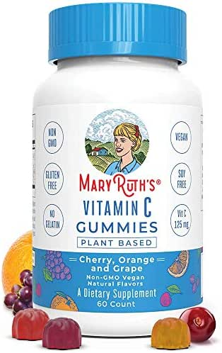 Immunity Vitamin C Vegan Gummies Chewable (Plant-Based) by MaryRuth's Organic Ingredients - Antioxidant- Non-GMO- Gluten Free - Men, Women & Kids 125 mg of Vitamin C per gummy 60 Ct