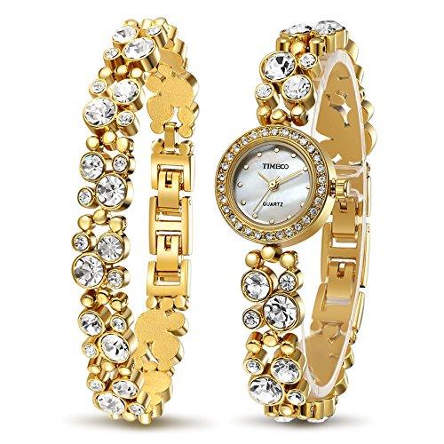 Time100 Women's WatchesBracelet Diamond Round Dial Watch Ladies Fashion Dress Watches Wrist watches for (Ladys Gold Diamond Bracelet Watch)