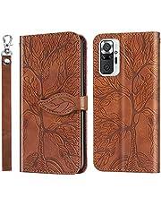 MUTOUREN Hoesje voor Xiaomi Redmi Note 10 Pro/Note 10 Pro Max PU Lederen Case Flip Wallet Cover Magneet Beschermende Anti-jeNL Schokbestendige Telefoonhoes, con 1* Schermbeschermer - Bruin