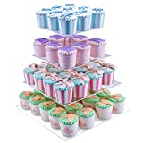 4 Tier Cupcake Stand Display Tree for Wedding Birthday Treat Party - Square Clear Acrylic Cake Cupcake Stands Tower DYCacrlic