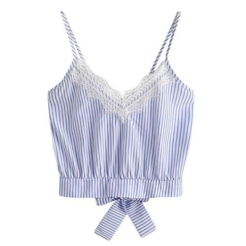 Top Stripe Lace - WILLTOO Clearance Women Crochet Tank Camisole Lace Vest Bra Crop Top (Stripe-Blue, M)