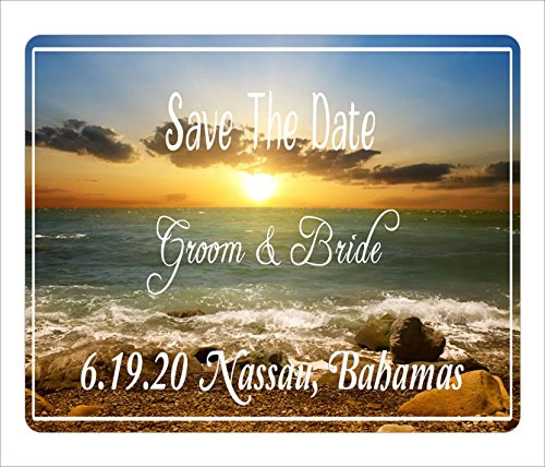 BleuReign(TM) Personalized Custom Beach Tropical Destination Wedding Save The Date Announcement Square Refrigerator Fridge Magnet Set Of 25 -