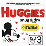 Huggies Snug & Dry Baby Diapers, Size 3 (fits 16-28 lb.), 120 Count, Giga Jr Pack (Packaging May Vary)